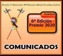 Comunicados emitidos por el Patrocinador durante el desarrollo del VI Premio 2020