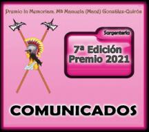 Comunicados emitidos por el Patrocinador durante el desarrollo del VII Premio 2021